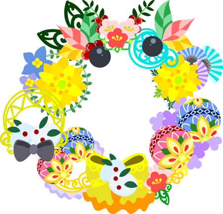 The frame that is made with Japanese style ornament  イラスト・ベクター素材