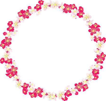 The frame that is made with plum blossoms