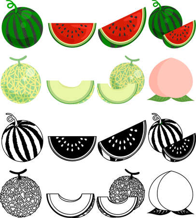 The cute icons of watermelon and melon and peach