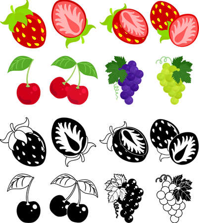 The cute icons of strawberry and cherry and grapes and muscats