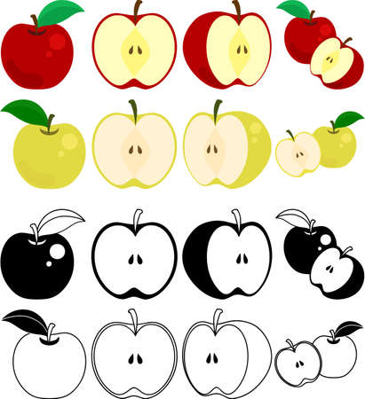 The cute icons of apple and pear