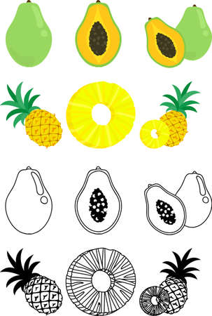 The cute icons of papaya and pineapple