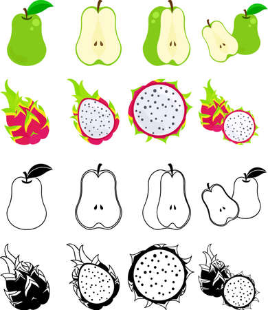 The cute icons of pear and dragon fruit