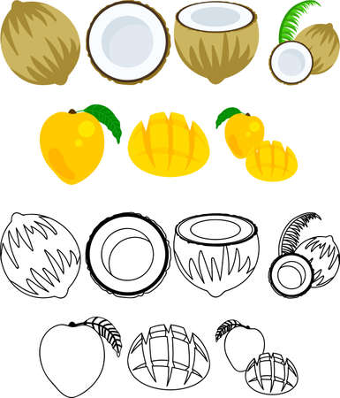 The cute icons of coconut and mango