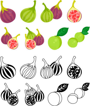 The cute icons of fig and plum