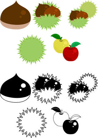 The cute icons of chestnut and apple