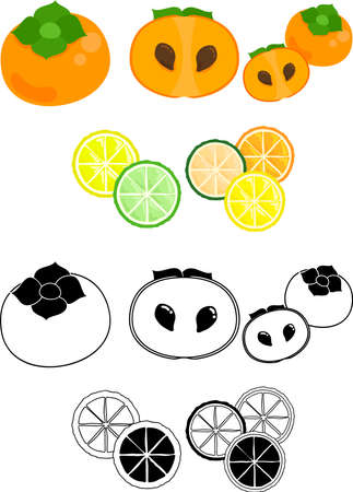 The cute icons of persimmon and citrus