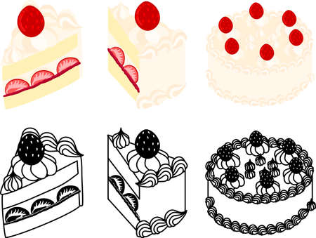 The cute icons of shortcake  イラスト・ベクター素材