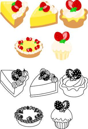 The cute icons of strawberry custard tart