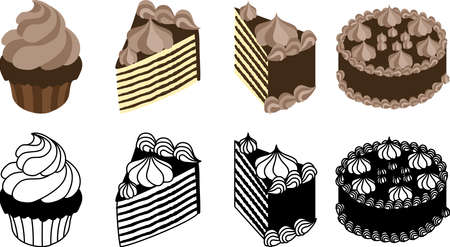 The cute icons of chocolate cake