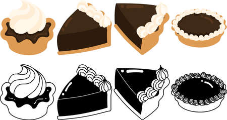 The cute icons of chocolate tart