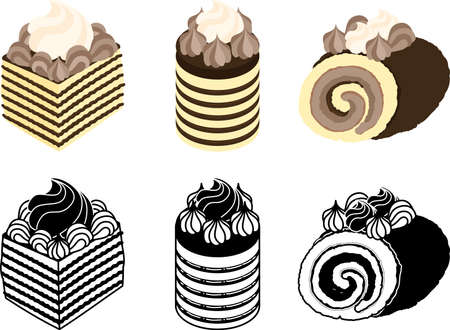 The cute icons of various chocolate cakes