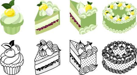 The cute icons of green tea cake Çizim