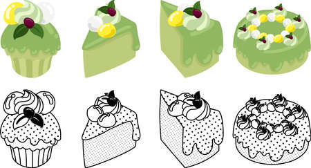 The cute icons of green tea chiffon cake  イラスト・ベクター素材
