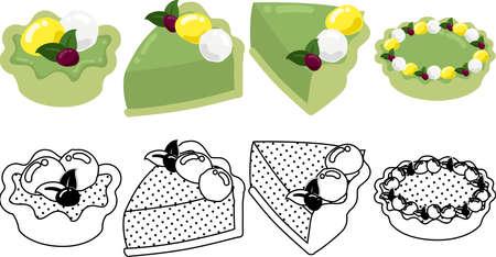The cute icons of green tea tart