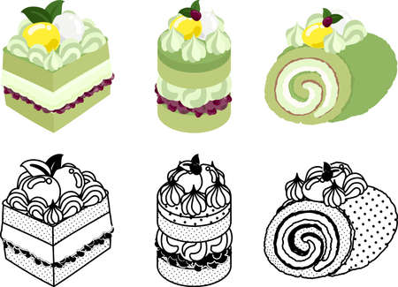 The cute icons of various green tea cakes