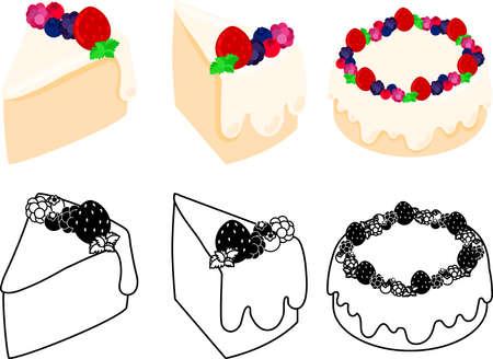 Les icônes mignonnes du gâteau en mousseline de soie mix berry Vecteurs