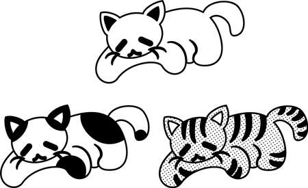 The cute icons of cats drawn in monochrome  イラスト・ベクター素材
