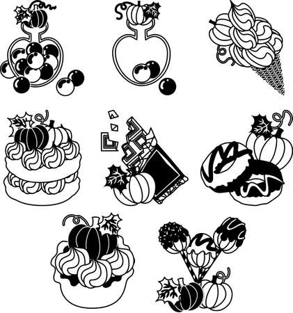 The candy and an ice-cream cone and tart and a cake and chocolate and a donut and cake pop of pumpkin