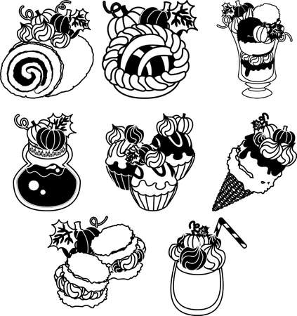 A roll and a pie and parfait and a cream puff and jam and cupcake and ice cream and juice of pumpkin Ilustração