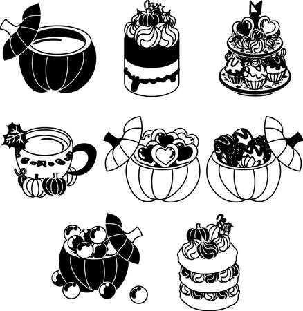A pudding and bavarois and candy and  a cookie and chocolate and pancake of pumpkin Ilustração