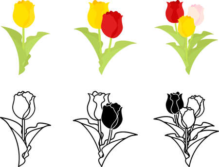 The cute icons of tulips  イラスト・ベクター素材