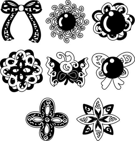 The pretty and stylish icons such as ribbons or broaches.