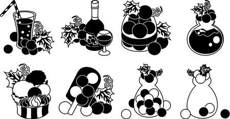The pie and tart and cupcake and parfait and Mont Blanc and teapot and clock and art object and wreath of grapes