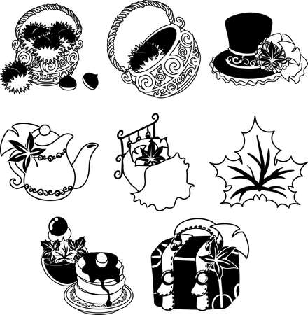 The various cute icons of autumn season  イラスト・ベクター素材