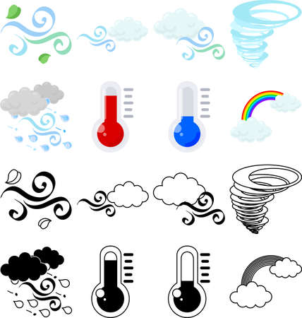 The cute icons that convey the weather such as wind and temperature