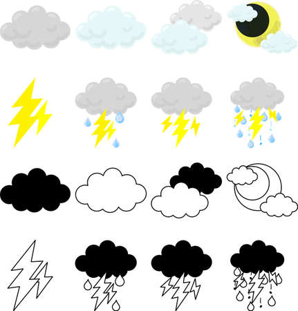 The cute icons that tells cloudy and thunder weather
