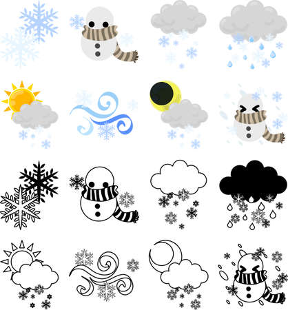 The cute icons that tells snowy weather  イラスト・ベクター素材