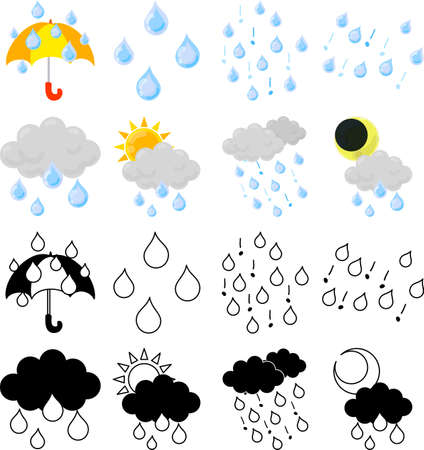 The cute icons that tells rainy weather  イラスト・ベクター素材
