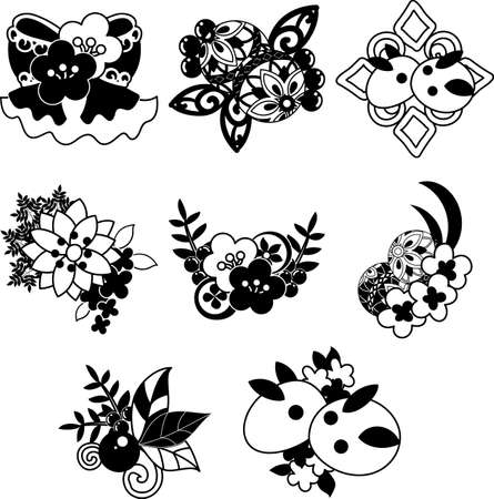 The pretty and stylish icons of Japanese style accessories  イラスト・ベクター素材