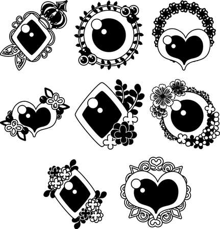 Cute and fashionable icons such as accessories and brooches.