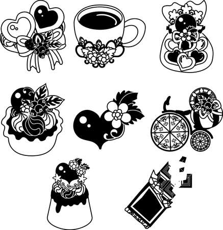 The cookie and drink and pudding and tart and and etc of chocolate  イラスト・ベクター素材