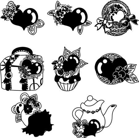 The cute icons of heart objects such as basket and bed and bag and cake and pot  イラスト・ベクター素材