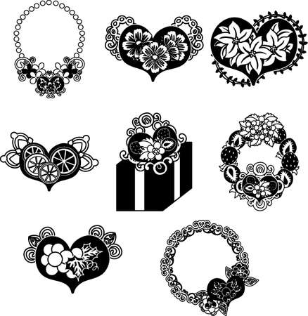 The cute icons of heart objects such as pendant and broach and present and wreath  イラスト・ベクター素材