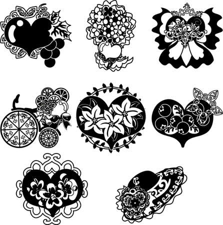 The cute icons of heart objects such as bouquet and ribbon and bicycle and hat