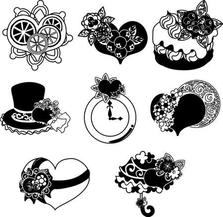 The cute icons of heart objects such as cake and hat and silk hat and clock and umbrella