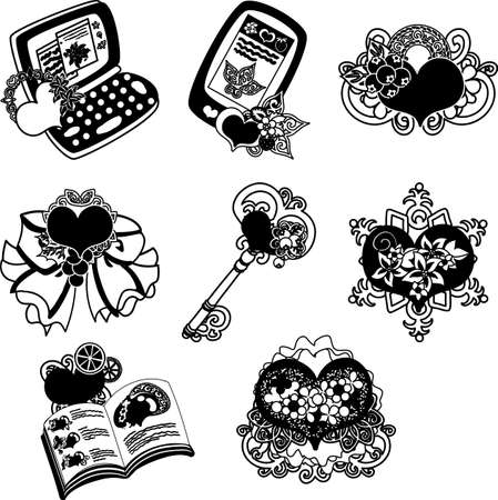 The cute icons of heart objects such as PC and mobile phone and broach and book and ribbon and key