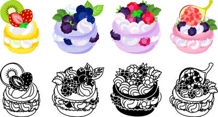 The icons of macaron decorated with strawberry and kiwi and blueberry and raspberry and blackberry and fig and etc.  イラスト・ベクター素材