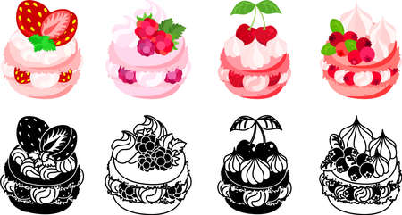 The icons of macaron decorated with strawberry and raspberry and cherry and cranberry and etc.