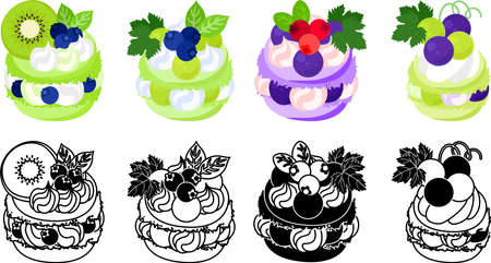 The icons of macaron decorated with kiwi and blueberry and muscat and grapes and cranberry and etc.