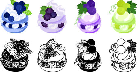 The icons of macaron decorated with blueberry and blackberry and grapes and muscat and etc.  イラスト・ベクター素材