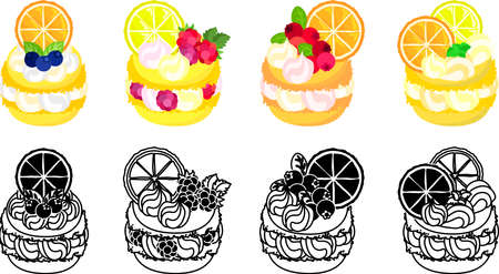 The icons of macaron decorated with blueberry and raspberry and cranberry and orange and lemon and etc.