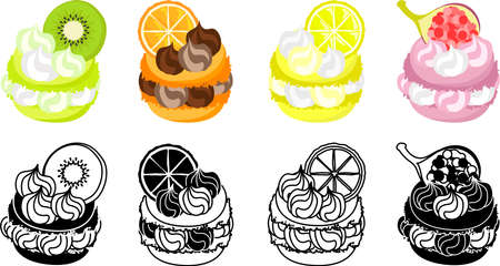 The icons of macaron decorated with kiwi and orange and lemon and fig and etc.