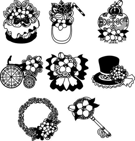 The cute icons of cherry blossom such as cake and smoothie and perfume and wreath and bicycle and ribbon and silk hat and key