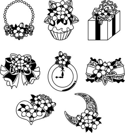 The cute icons of cherry blossom such as necklace and cupcake and present and jewel and ribbon and clock  イラスト・ベクター素材