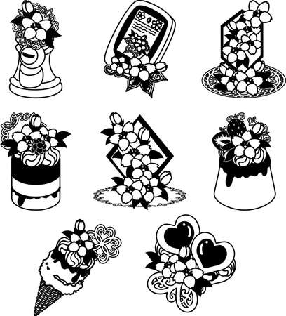 The cute icons of cherry blossom such as post and smartphone and crystal and jewel and ice cream and cake and pudding